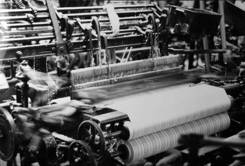 A powerloom in Higherford Mill (1968)